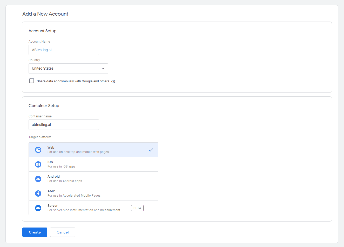 Filling in the company info